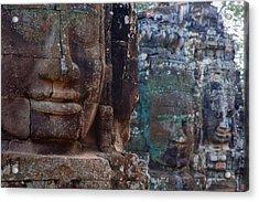Stone Heads At Bayon Temple Acrylic Print by Carson Ganci