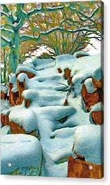 Stone Steps In Winter Acrylic Print by Jeff Kolker