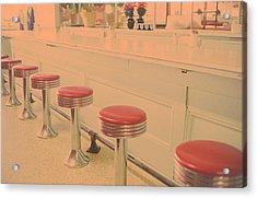 Stools At Bar Counter Acrylic Print by Carol Whaley Addassi