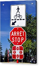 Stop And Crossing Signs. Acrylic Print by Fernando Barozza