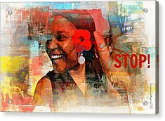Stop Acrylic Print by Fania Simon