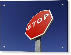 'stop' Road Sign Acrylic Print by Martin Ruegner