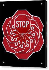 Stop Sign Kalidescope Acrylic Print by Denise Keegan Frawley