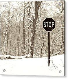 Stop Snowing Acrylic Print by John Stephens