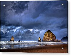Stormy Clouds In Cannon Beach Acrylic Print by Niels Nielsen