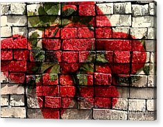 Strawberries On Bricks Acrylic Print by Barbara Griffin