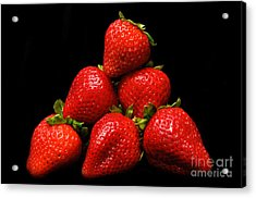 Strawberries On Velvet Acrylic Print by Andee Design