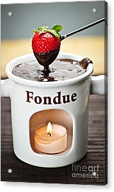 Strawberry Dipped In Chocolate Fondue Acrylic Print by Elena Elisseeva