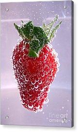Strawberry In Soda Acrylic Print by Soultana Koleska