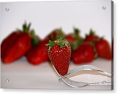 Strawberry On Spoon Acrylic Print by Soultana Koleska