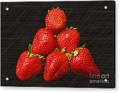 Strawberry Pyramid On Black Acrylic Print by Andee Design