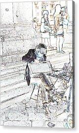 Street Artist Florence Italy Acrylic Print by Allan Rothman