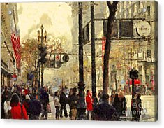 Street Scene At Market Street In San Francisco California . 7d4268 Acrylic Print by Wingsdomain Art and Photography