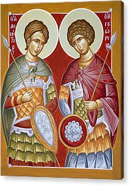 Sts Dimitrios And George Acrylic Print by Julia Bridget Hayes