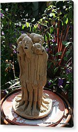 Suffering Circle Ceramic Sculpture Brown Clay  Acrylic Print by Rachel Hershkovitz
