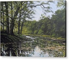 Summer Creek Reflections Acrylic Print by James Guentner