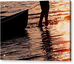 Summer Days - Canoeing At Sunset Acrylic Print by Angie Rea