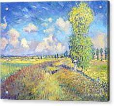 Summer Poppy Fields - Sur Les Traces De Monet Acrylic Print by David Lloyd Glover