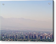 Summer Smog And Pollution In Santiagos Acrylic Print by Jason Edwards