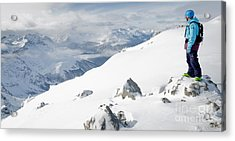 Summit Snowboarder Planning The Descent From Weissfluhgipfel Davos  Acrylic Print by Andy Smy