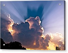 Sun Rays And Clouds Acrylic Print by Amber Flowers