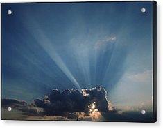 Sun Rays And Cumulus Cloud Acrylic Print by Pekka Parviainen