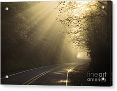 Sun Rays On Road Acrylic Print by Ron Sanford and Photo Researchers