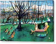 Sunbathing With Friends Acrylic Print by Mindy Newman