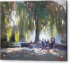 Sunday Afternoon By The Fontain Acrylic Print by Ylli Haruni