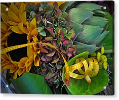 Sunflower And Thistle  Acrylic Print by Mary Machare