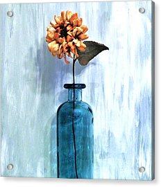 Sunflower In A Beach Bottle Acrylic Print by Marsha Heiken