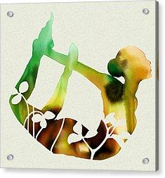 Sunflower Yoga Acrylic Print by Dana Vogel