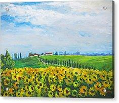 Sunflowers In Chianti Acrylic Print by Heidi Patricio-Nadon