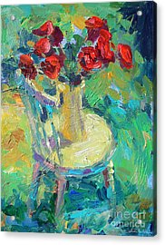 Sunny Impressionistic Rose Flowers Still Life Painting Acrylic Print by Svetlana Novikova
