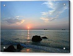 Sunrise Calm Sea Ships Acrylic Print by Ken  Collette