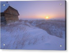Sunrise On Abandoned, Snow-covered Acrylic Print by Dan Jurak
