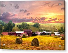 Sunrise Pastures Acrylic Print by Debra and Dave Vanderlaan