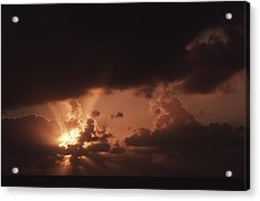 Sunset And Clouds Over Water Acrylic Print by Ira Block