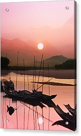sunset at Mae Khong river Acrylic Print by Setsiri Silapasuwanchai