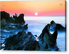 Sunset At Sea With Rocks In Foreground Acrylic Print by Midori Chan-lilliphoto