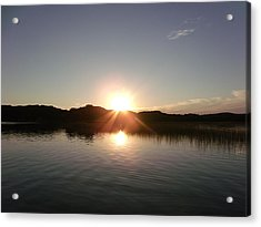 Sunset Glass At The Lake Acrylic Print by Brian  Maloney