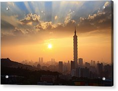 Sunset In Metropolitan Acrylic Print by Jhhuang