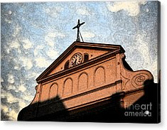Sunset On St Louis Cathedral In Jackson Square French Quarter New Orleans Fresco Digital Art Acrylic Print by Shawn O'Brien