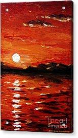 Sunset On The Sea Acrylic Print by Muna Abdurrahman