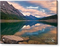 Sunset Over Medicine Lake Acrylic Print by James Steinberg and Photo Researchers
