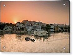 Sunset Over Pichola Lake In Udaipur. Acrylic Print by Ania Blazejewska