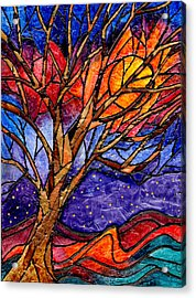 Sunset Tree Abstract Acrylic Print by Elaine Hodges