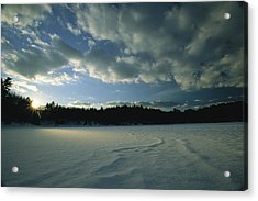 Sunset Viewed From The Frozen Surface Acrylic Print by Tim Laman