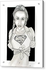 Supergirl Acrylic Print by Nathan  Miller