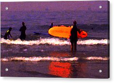 Surf Lessons Acrylic Print by Ron Regalado